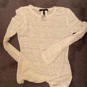 BCBG long sleeve white lace long sleeve top shirt